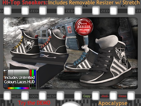 FULL - ZED MESH Apocalypse Hi-Tops (NonRigged/Resizable/Stretchable)+Bonus Sock Tops