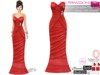 Full Perm Red Satin Strapless Mermaid Gown Cake Dress With Brooch Slink, Maitreya, Belleza, Tonic