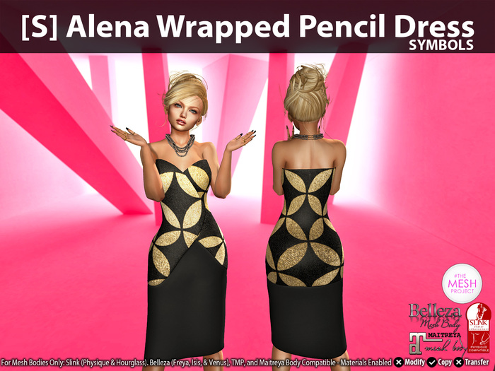 [S] Alena Wrapped Pencil Dress Symbols