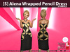 s  alena wrapped pencil dress symbols pic