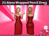 [S] Alena Wrapped Pencil Dress Red