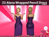 [S] Alena Wrapped Pencil Dress Purple