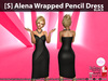 [S] Alena Wrapped Pencil Dress Black
