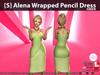 s  alena wrapped pencil dress green pic