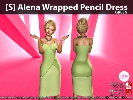 [S] Alena Wrapped Pencil Dress Green