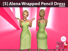 [S] Alena Wrapped Pencil Dress Green