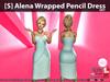[S] Alena Wrapped Pencil Dress Sky
