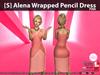 [S] Alena Wrapped Pencil Dress Pink