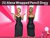 [S] Alena Wrapped Pencil Dress Blue