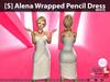 [S] Alena Wrapped Pencil Dress White