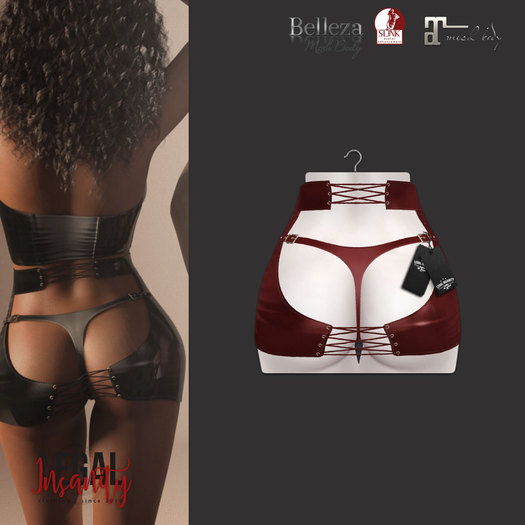 Legal Insanity - Malya red leather skirt