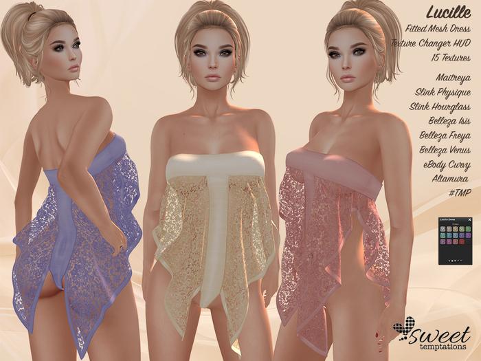 Sweet Temptations :: Lucille Dress - Maitreya, Slink, Belleza, #TMP, eBody & Altamura -15 Text
