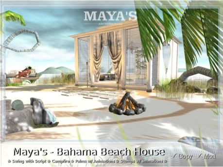 Maya's - Bahama Beach House-Swing-Stump,Palm,Campfire