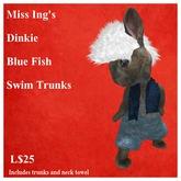 Miss Ing's Dinky Blue Fish Swim Trunks Set