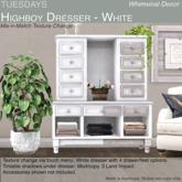 Tuesdays Highboy Dresser - White