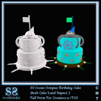 Swell Second Life Marketplace Ss Ocean Octopus Birthday Cake Funny Birthday Cards Online Aeocydamsfinfo