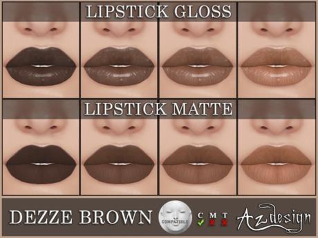 Az... Dezze Brown Lipstick (LELUTKA APPLIER)