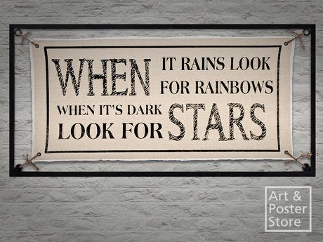Rainbows and stars metal sign