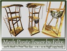 Mesh Pirate Tower 11 Prim-Two Versions 7m+10m High copy-mody