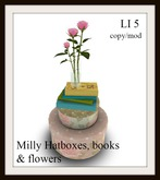 Milly hat boxes, books & flowers