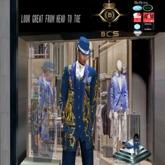 Rossanno  Men Mesh Blue & Gold Suit