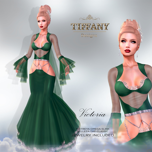 ::TD:: Victoria Gown with Appliers ~ Dark Green [Maitreya,Belleza,Omega,TMP,Slink,Classic]