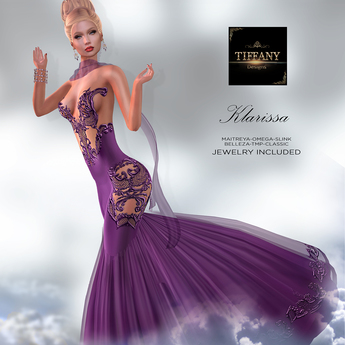 ::TD:: Klarissa Gown with Appliers ~ Purple [Maitreya,Belleza,Omega,TMP,Slink,Classic]