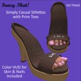 Simply Casual PrimToe Stilettos - Chocolate Leather