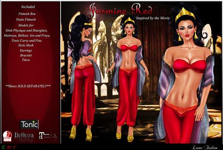 Second Life Marketplace Lamu Fashion Outfit Princess Jasmine Red