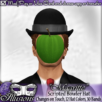 """*~*Illusions*~* """"Magritte"""" Bowler Hat (Changes Texture!)"""