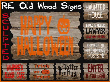 RE Old Wood Halloween Sculpted Signs - On Sale! 16 Fun & Spooky Decorations