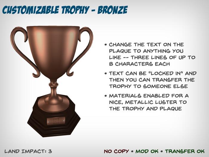 Customizable Trophy - Bronze