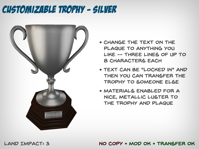 Customizable Trophy - Silver
