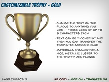 [S2S] Customizable Trophy - Gold