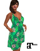 XK Maitreya Tropical Beach Party Floral Green Dress