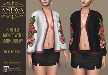 :: ANTAYA :: Knitted jacket with embroidery-red roses \ Maitreya body \ Original mesh