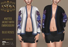 :: ANTAYA :: Knitted jacket with embroidery-blue roses \ Maitreya body \ Original mesh