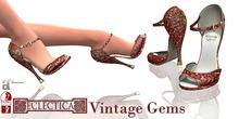 Eclectica Vintage Gem Shoes - red