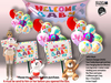 [SuXue Mesh] FATPACK Little Baby Welcome Teddy Bear girl & boy HUD Hanging Banner Holding Pose Animate Resizable 1 Box