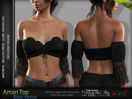 Amari Female BLACK Top with Sleeves - MESH - Maitreya Lara, Slink Hourglass, Belleza Freya - FashionNatic