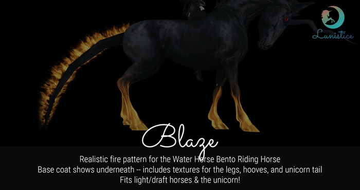 Lunistice: Blaze - Water Horse Pattern/Tattoo, Hooves & Unicorn Tail