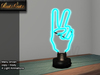 Standing neon sign hand victory