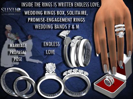 [SuXue Mesh] Gokova Bento & Classic Unrigged Wedding Rings Resize Marriage Proposal Pose Female & Male