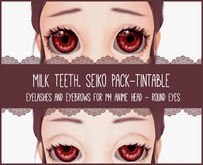 milk teeth. SEIKO Eyelash & Eyebrow Pack for M4 Anime Head (ROUND EYES)