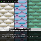 SALE!  12 x Iridescent Mermaid Scales (Compilance Textures)