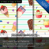 SALE!  31 x Ice Cream Social Patterns (Compilance Textures)