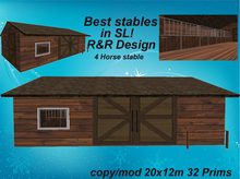 4 horse stable redwood with a lot of equipment, sculpted, animated, low prim stable
