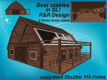 8 horse living stable redwood, fully furnished, with lot of equipment, animated, low prim stable