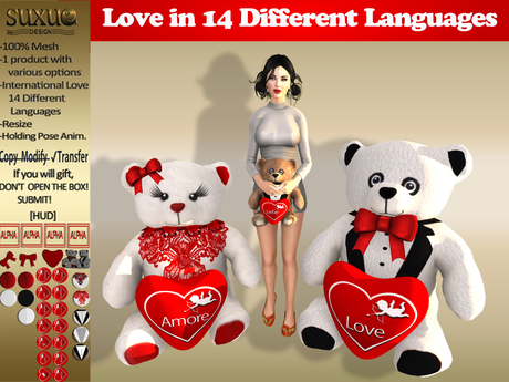 [SuXue Mesh] FATBACK Eros Teddy Bear with Hud 14 Language Love, Different Girl & Boy, Heart, Resize, Holding AO