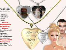 [SuXue Mesh] FATPACK Ada Heart Necklace Opening Closing Locket, Always in My Heart, Silver & Gold, Resize, Unisex